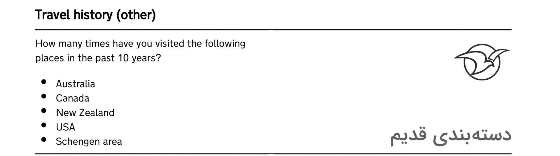 عصر ویزا لیست قدیم تاریخچه سفرهای و نام حوزه شینگن در فرم وقت سفارت انگلیس تهران
